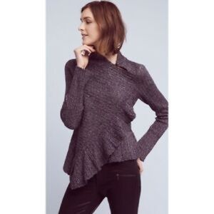 Anthro Knitted & Knotted Cascading Ruffle Sweater